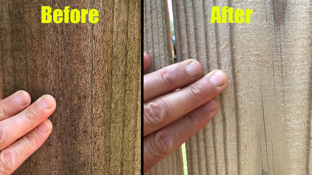 pressure washing fence before and after