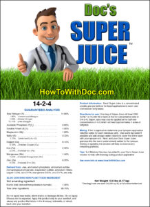 Super Juice fertilizer label