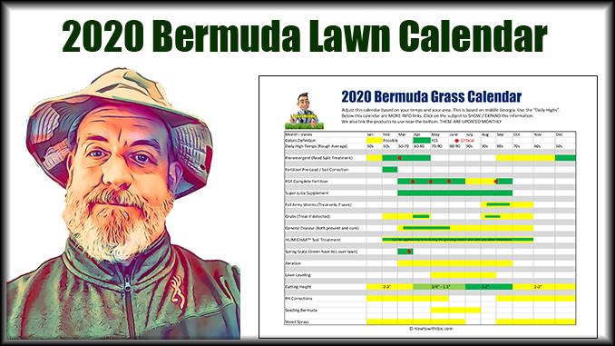 2020 bermuda grass lawn calendar