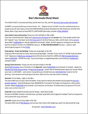 bermuda lawn cheat sheet